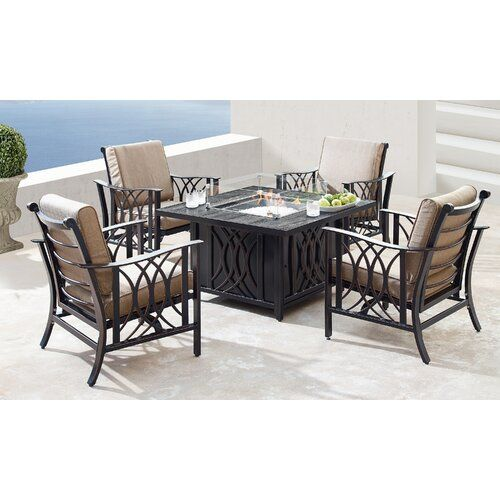 Mccomas 5 Piece Dining Set With Cushions And Firepit In 2020 5 Piece Dining Set Dining Set Outdoor Furniture Sets