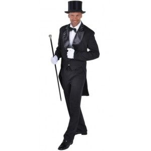costume de deguisement queue de pie cabaret noire deluxe homme qualit thtre de magic by freddys - Costume Queue De Pie Homme Mariage