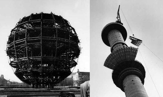 construction of the East Berlin Fernsehturm at Alexanderplatz, 1965-1969