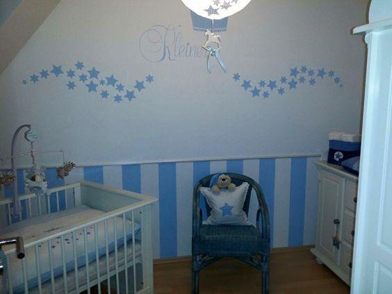 kinderzimmer blau-weiß gestreift gestrichen #kinderzimmer ... - Kinderzimmer Blau Weis