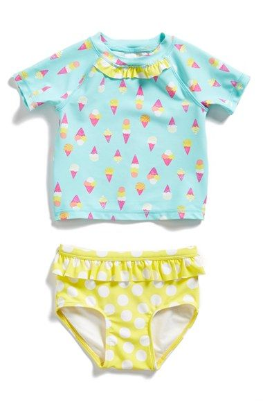 Free shipping and returns on Tucker + Tate Two-Piece Rashguard Swimsuit (Baby Girls) at Nordstrom.com. Beachy prints and fun ruffles lend a whimsical touch to a short raglan-sleeve rashguard top that pairs with coordinating bottoms to provide enhanced sun protection.: