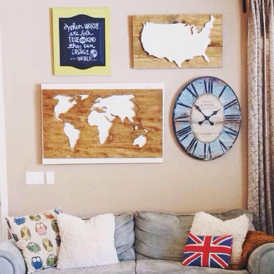 These World Maps and US cutouts are definitely on our favorites list this year! Find The Treasure Hunts on http://www.junknlovedistrict.com/directory/the-treasure-hunts/   Husband & Wife team Brady and Lola  specialize in refinishing vintage and antique furniture in addition to their state, USA and World map cutouts and pallet art. We love custom orders, so please don't hesitate to contact us!
