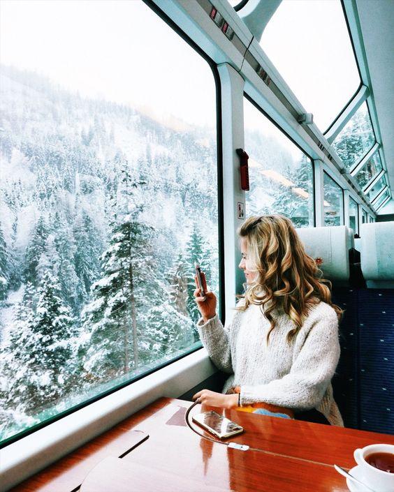 Taking photos on the Glacier Express through Switzerland