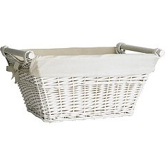 Looking at different types of baskets for the shelf.