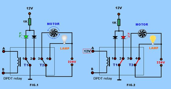 Spdt Relay And Dpdt Relay To Switch Between The 2 Different Loads With Dpdt Switch Relay Electronics Projects Circuit Projects