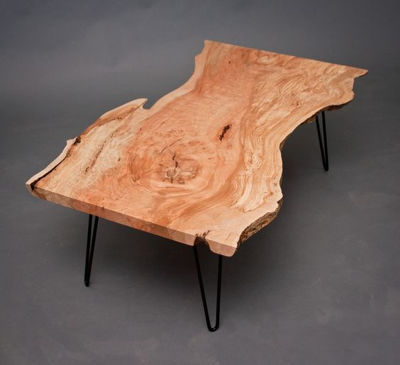 Reclaimed Live Edge Maple Coffee Table Bench Industrial: Maple COFFEE TABLE