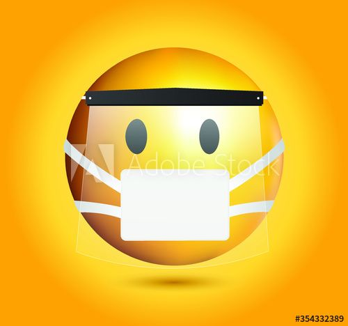 High Quality Mask Emoticon On Yellow Gradient Background Mask Emoji With Shield Yellow Face With Open Eyes Wearing A White Surgical In 2020 Emoji Emoticon Mask Images