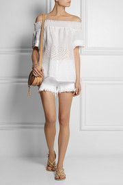 Collette by Collette Dinnigan Smocked linen and broderie anglaise top