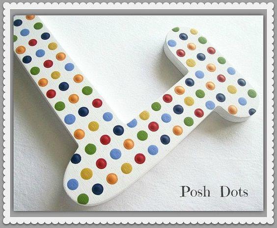 Hand Painted Decorative Wooden Letters por PoshDots en Etsy