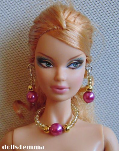 HANDMADE Pearly Pink JEWELRY SET for Barbie model muse Fashion Royalty $5.00 on ebay - by dolls4emma