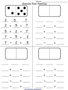 ... facts and families on pinterest : Free Addition Fact Family Worksheets