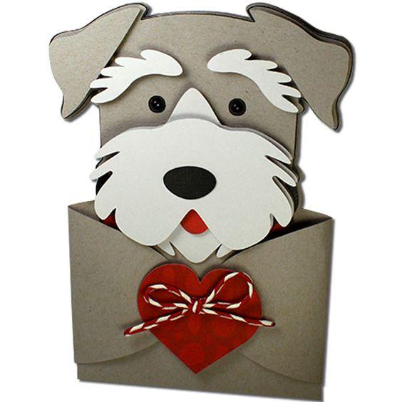 Мужчин, из бумаги собака на открытке