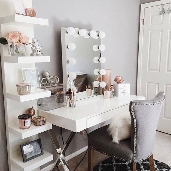 The prettiest vanities are all here in one post! Come find inspiration to create your own pretty vanity in your home! Every girl needs one!