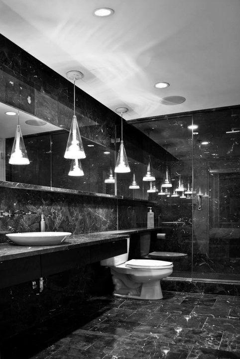Alluring Small Hanging Lightnings Elegant Black Marble Bathroom Simple Washbasin Plate High Ceil Black Marble Bathroom Glamorous Bathroom Decor Marble Bathroom
