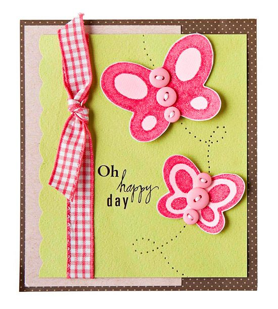 Butterfly Style - This card gets a dose of springtime with stamped, embellished butterflies. Stamp the image with paint and then sprinkle on glitter before it dries. To add movement to the card, create a fluttering path with a paper piecer.