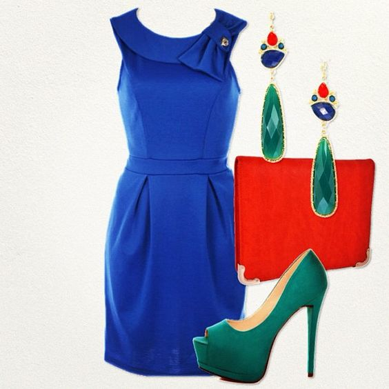 Cobalt Blue 60's Retro Dress with Dark Teal Pumps and Burnt Orange Clutch. Fun accessories makes this Timeless Dress Sizzle!!!