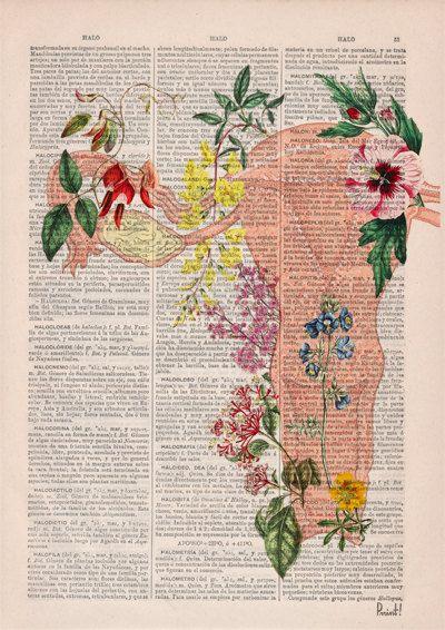 Útero florido collage regalo mujer medicina estudiante de