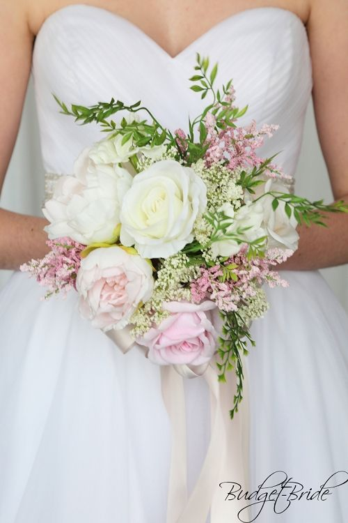Garden Wildflower Brides Bouquet Blush Pink Light Pinks Artificial