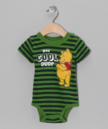 Take a look at this Green Stripe Winnie the Pooh One Cool Dude Bodysuit - Infant by Winnie the Pooh on #zulily today!