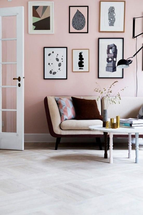 How to Decorate with Pantone's Rose Quartz and Serenity - Once you've mastered the pink walls (or if you're too scared to try), add a splash of serenity with a geometric-print pillow.:
