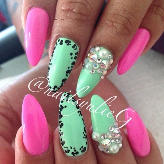 Pink Mint Stiletto Almond Nails @nailsyulieg | Brights | Nails ...
