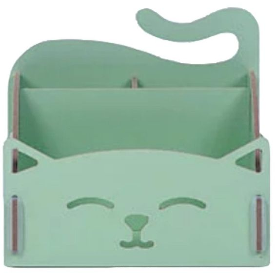 Amazon.com : DIY Wooden Cosmetics Storage Box/ Cute Cat Desktop... ($30) ❤ liked on Polyvore featuring home, home decor, office accessories, wooden desk organizer, wood box, wooden box, wood desk organizer and cat box