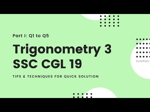 Ssc Cgl Level Solution Set 19 Trigonometry 3 Suresolv In 2020 Trigonometry Math Word Problems This Or That Questions