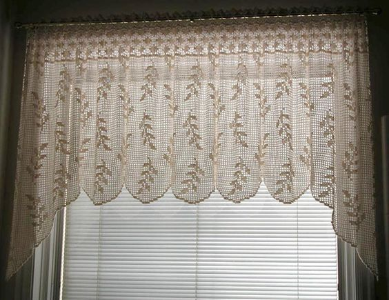 Curtains Ideas crochet curtain patterns valances : Blowing Wheat Valance (T10-013) | Filet crochet, Crocheting and ...