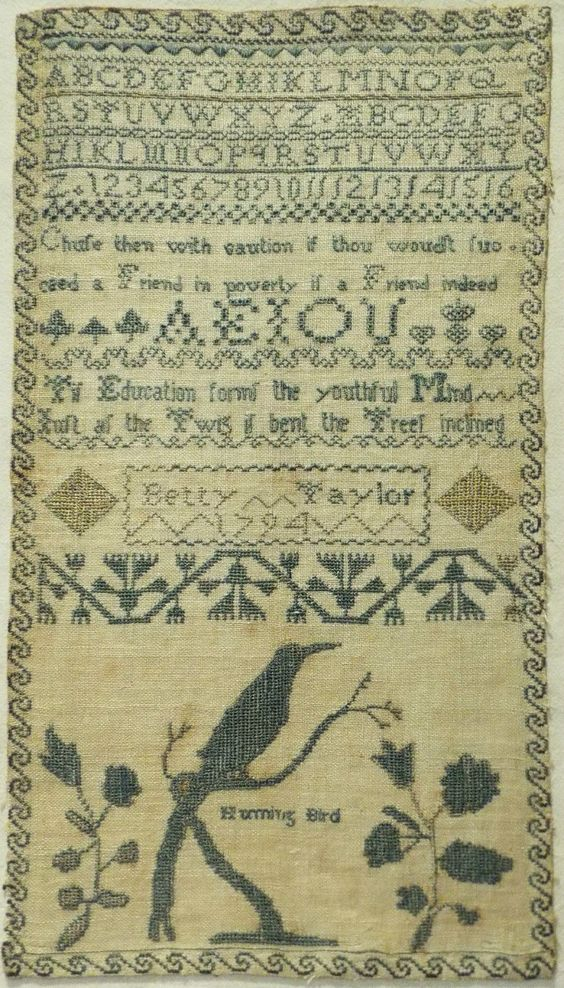 "Late 18th century ""humming bird"" & alphabet sampler by betty taylor - 1794"