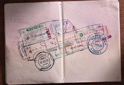 A 4x4 created using date stamps in passport