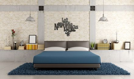 decoration murale en lettre bois patin acier lettre typographique new york loft industrial. Black Bedroom Furniture Sets. Home Design Ideas