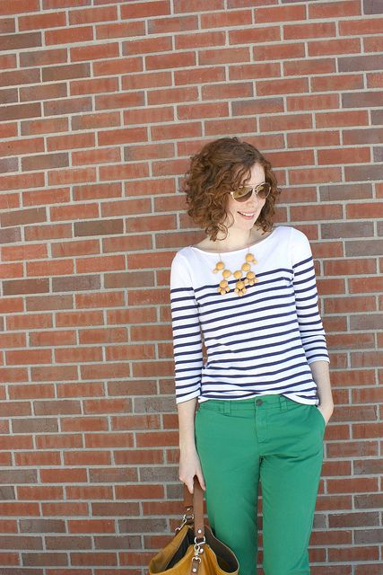 stripes, kelly green, navy & yellow -- Feathers & Freckles