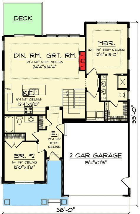 Plan 890005ah 2 Bed Craftsman Bungalow With Open Concept Floor Plan Basement House Plans Craftsman Bungalow House Plans Bungalow House Plans