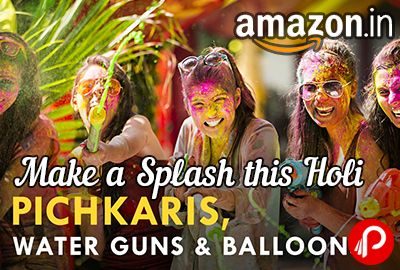 Amazon Make a Splash this Holi brings Holi Stuffs including Pichkaris, Water Guns, Balloons, Water Colors, Pooja Thalis, Thandai, Holi Hampers, Sweets, Namkeens, White Clothes and Flip flops & many more accessories.  http://www.paisebachaoindia.com/pichkaris-thandai-holi-hampers-and-sweets-make-a-splash-this-holi-amazon/