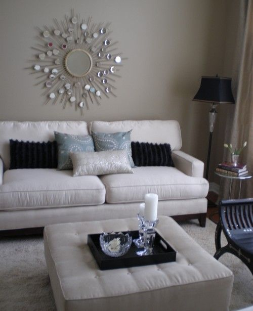 Living room white silver black taupe blue grey home for Grey and white living room ideas