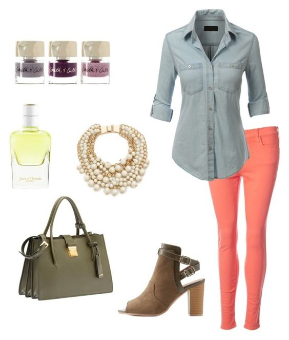 """""""relaxed weekend"""" by makeupbymichelleh on Polyvore featuring French Connection, LE3NO, Kate Spade, Miu Miu, Charlotte Russe, Smith & Cult and Hermès"""