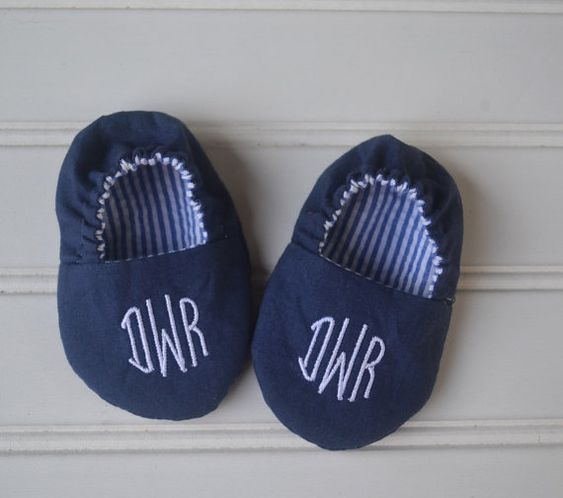 Monogrammed Reversible Infant Crib Shoes  Navy by SweetSummerBaby
