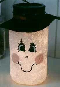 Mason jar Snowman lantern