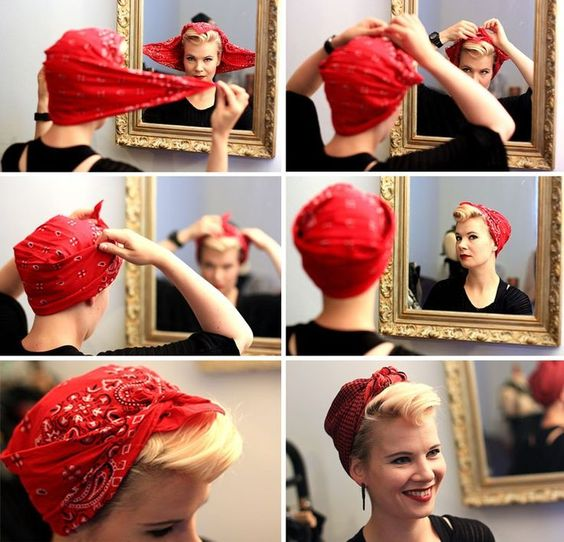 Différentes façons de mettre un bandana sur la tête en coiffure dans ses cheveux façon pin up ou en bandeau turban ou encore autour du cou ou en accessoire.