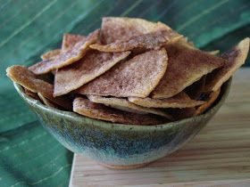 Snack Time: cinnamon tortilla chips! Subs butter for coconut oil