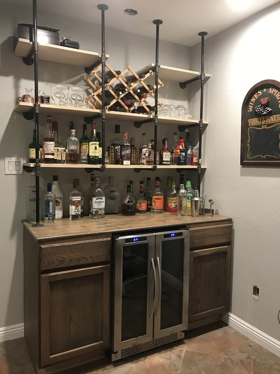 Gas Pipe Shelves Over Rustic Bar Diy Home Bar
