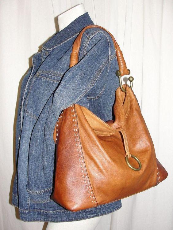 BCBG MAX AZRIA British Tan Leather Hobo Slouch Satchel Tote Purse Shoulder Bag  #BCBGMAXAZRIA #Hobo
