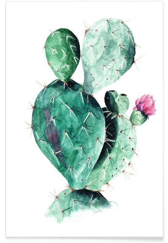 Cactus en Affiche premium par Annet Weelink Design | JUNIQE: