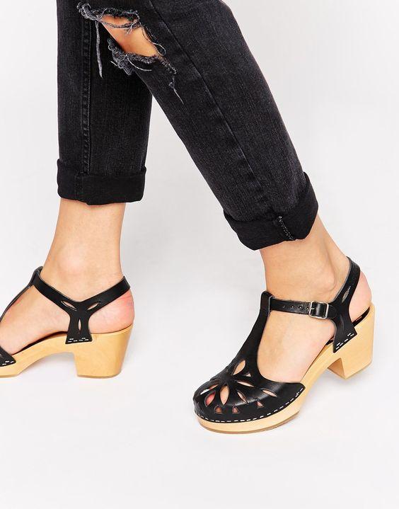 Image 1 of Swedish Hasbeens Black Lacy Kitten heel Sandals