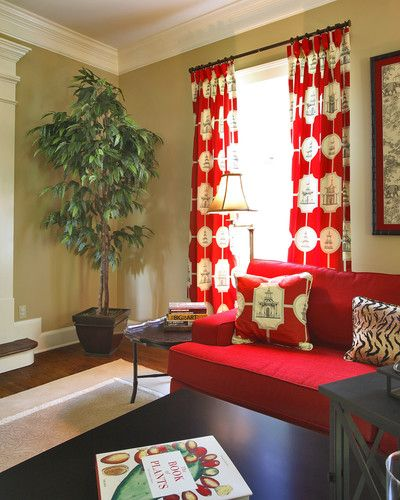 I love the pop the curtains give the room - via Houzz.    Us too!  Love the curtains and pillows made up in Thibaut's Oriental Toile in Black on Red!