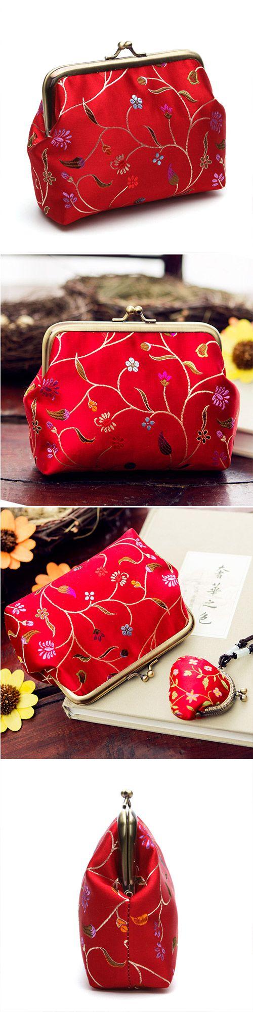 Handmade women clutch doupion silk brocade Chinese embroidery purse clutch long women wallet