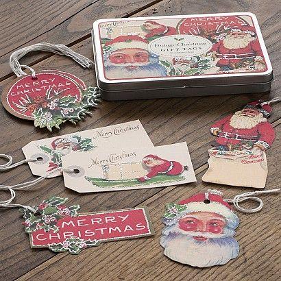 Nostalgische Geschenkanhänger mit Weihnachtsmotiven
