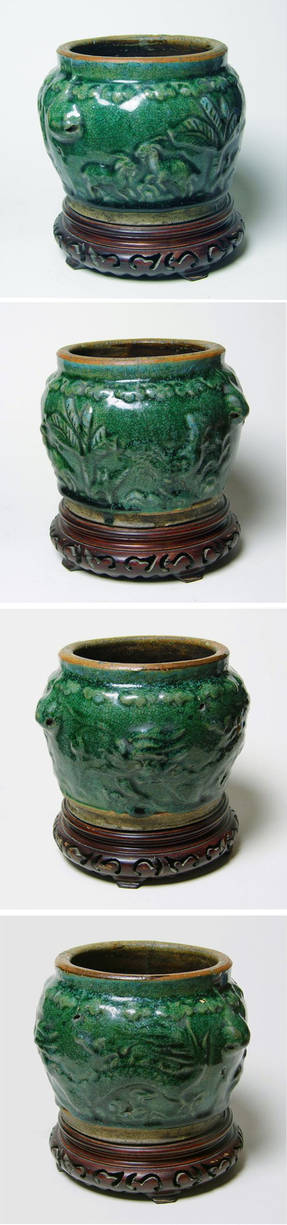 Chinese ceramic jar, early Ming Dynasty 15.Century, diam. 15,5 cm, hight 11 cm. Strong brown shards, green copper glaze with fine crackle, in places, light blue sprinklings and dull spots. Remote inward foot ring without glaze. Shoulder decor ornamental round fruits with leaves. In front left half two playing goats under a Banana tree, to the right of the garden a cock between plants. The other side shows a complete dragon with scaly body and legs with three claws.