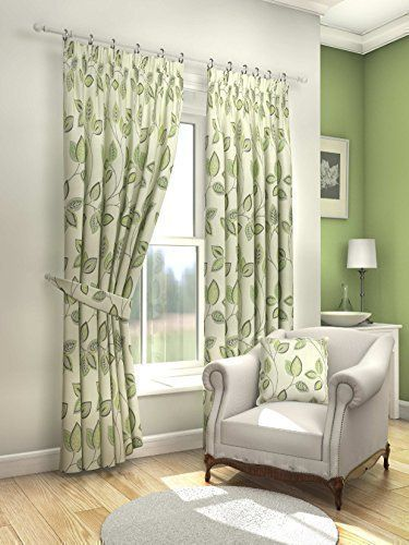Curtains Ideas curtains 54 x 72 : MODERN FRESH GREEN CREAM FLORAL LEAF CURTAINS LINED PENCIL PLEAT ...