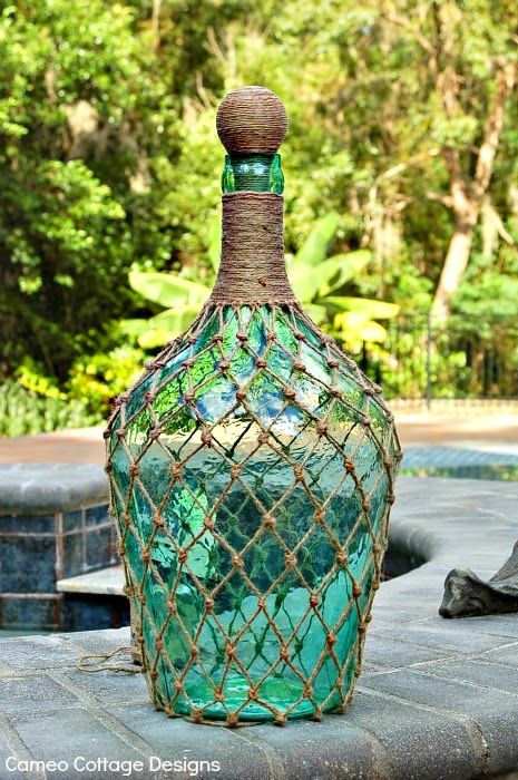 Cameo Cottage Designs: Knotted Jute Net Demijohns or Bottles DIY Tutorial עיצוב בקבוק בחוט